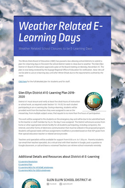 Weather Related E-Learning Days