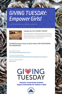 GIVING TUESDAY:  Empower Girls!