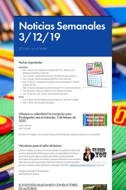 Noticias Semanales 3/12/19