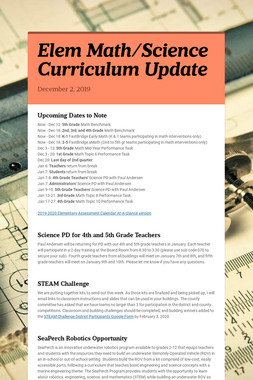 Elem Math/Science Curriculum Update