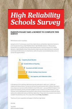 High Reliability Schools Survey