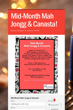 Mid-Month Mah Jongg & Canasta!