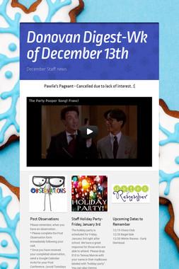 Donovan Digest-Wk of December 13th