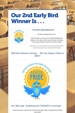 Our 2nd Early Bird Winner Is . . .