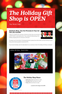 The Holiday Gift Shop is OPEN