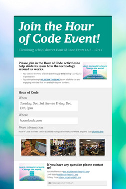 Join the Hour of Code Event!