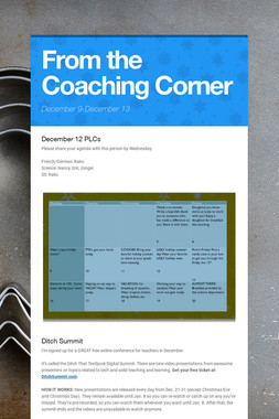 From the Coaching Corner