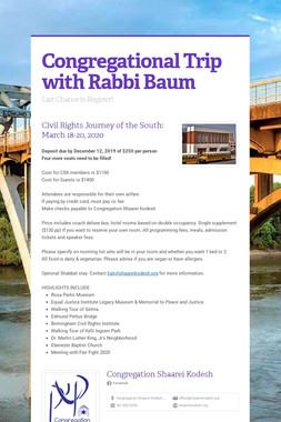 Congregational Trip with Rabbi Baum