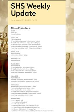 SHS Weekly Update