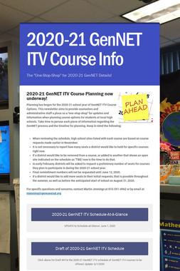 2020-21 GenNET ITV Course Info