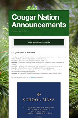 Cougar Nation Announcements