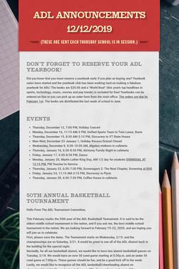 ADL Announcements 12/12/2019