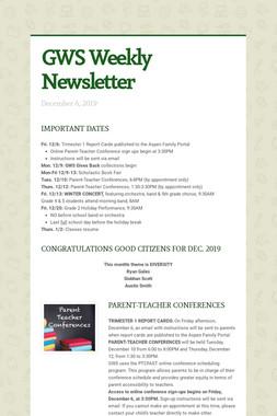 GWS Weekly Newsletter