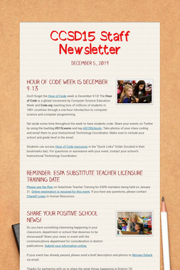 CCSD15 Staff Newsletter
