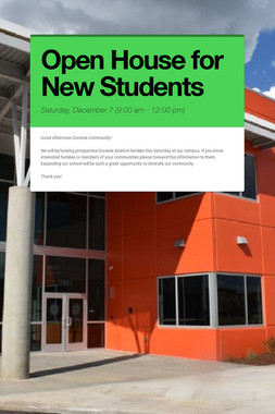 Open House for New Students