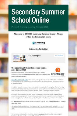 DPCDSB eLearning Summer School