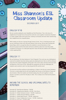 Miss Shannon's ESL Classroom Update