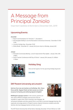 A Message from Principal Zaniolo