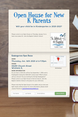 Open House for New K Parents