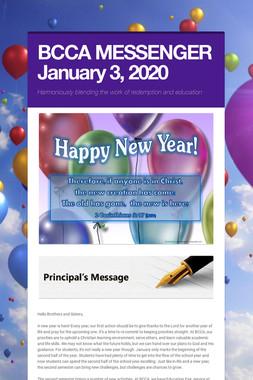 BCCA MESSENGER  January 3, 2020