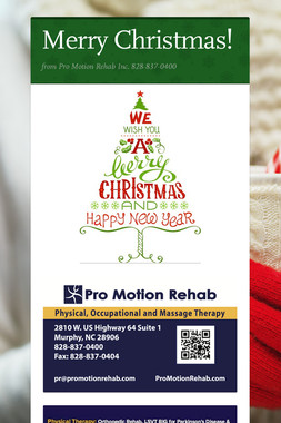 Merry Christmas!  Pro Motion Rehab