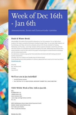 Week of Dec 16th - Jan 6th