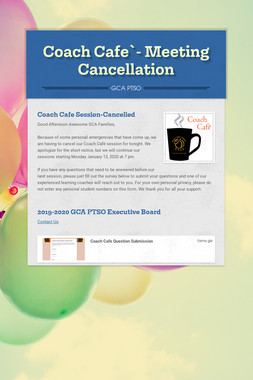 Coach Cafe`- Meeting Cancellation