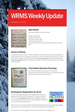 WRMS Weekly Update