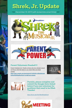 Shrek, Jr. Update