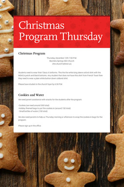 Christmas Program Thursday