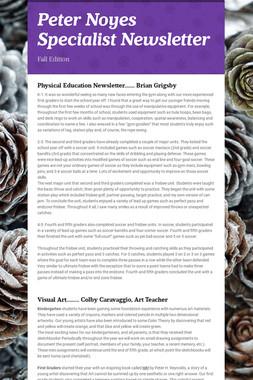 Peter Noyes Specialist Newsletter