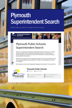 Plymouth Superintendent Search