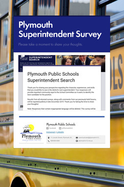 Plymouth Superintendent Survey