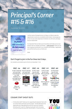 Principal's Corner #15 & #16