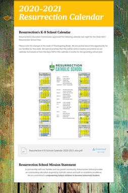 2020-2021 Resurrection Calendar