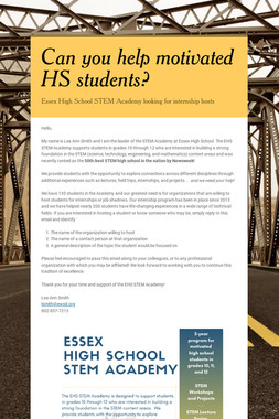 Can you help motivated HS students?