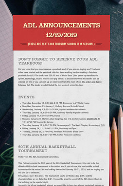 ADL Announcements 12/19/2019