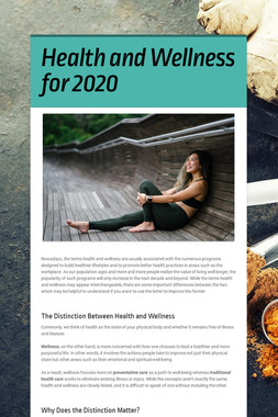 Health and Wellness for 2020