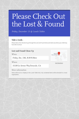 Please Check Out the Lost & Found