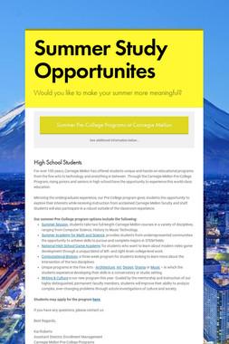 Summer Study Opportunites
