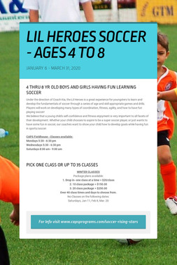 LIL HEROES SOCCER - AGES 4 TO 8
