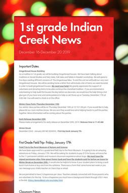 1st grade Indian Creek News