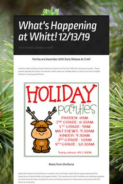 What's Happening at Whitt! 12/13/19
