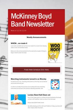 McKinney Boyd Band Newsletter