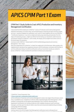 APICS CPIM Part 1 Exam