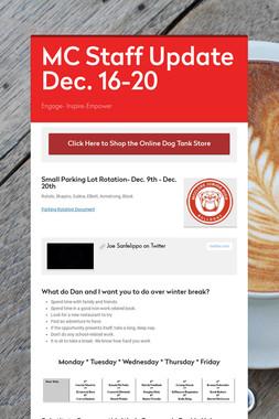 MC Staff Update Dec. 16-20