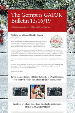 The Gompers GATOR Bulletin 12/16/19