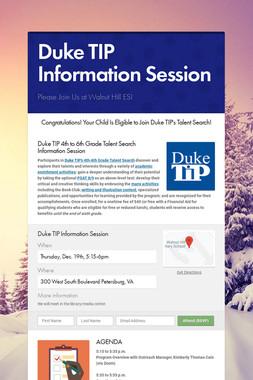 Duke TIP Information Session