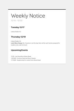 Weekly Notice