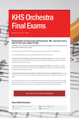 KHS Orchestra Final Exams